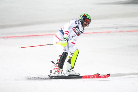 ZAGREB, CROATIA - JANUARY 4, 2018 : Matt Michael of Aut competes during the Audi FIS Alpine Ski World Cup Mens Slalom, Snow Queen Trophy 2018 in Zagreb, Croatia. Editorial