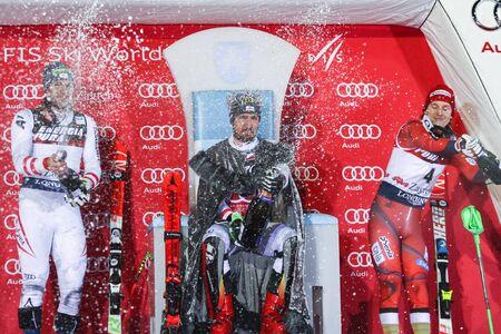 ZAGREB, CROATIA - JANUARY 4, 2018 : Award ceremony of the Audi FIS Alpine Ski World Cup Mens Slalom, Snow Queen Trophy 2018 in Zagreb, Croatia. First place Marcel Hirscher of Austria, second place Michael Matt of Austria, third place Henrik Kristoffersen