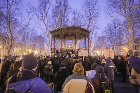 ZAGREB, CROATIA - 3rd MARCH, 2018 : Protesters protesting against the financial enforcement law, that is terrorizing financially blocked people, in Zrinjevac Park, Zagreb, Croatia. Editorial