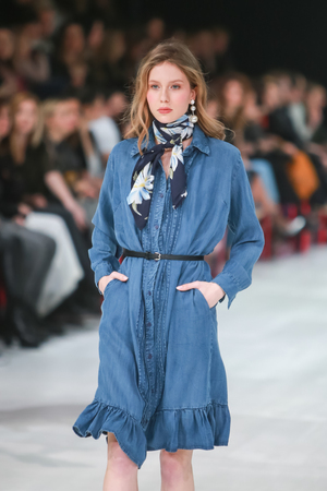 ZAGREB, CROATIA - MARCH 23, 2018 : Fashion model wearing clothes for spring - summer, designed by Robert Sever on the Bipa Fashion.hr fashion show in Zagreb, Croatia. 新闻类图片