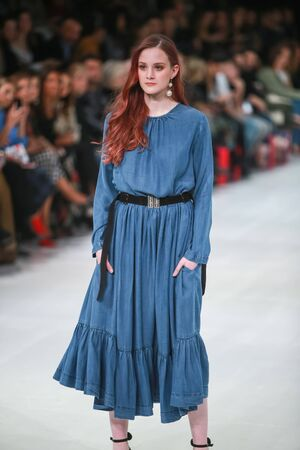 ZAGREB, CROATIA - MARCH 23, 2018 : Fashion model wearing clothes for spring - summer, designed by Robert Sever on the Bipa Fashion.hr fashion show in Zagreb, Croatia. Redakční