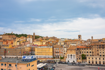 ANCONA, ITALY - 10 JULY, 2011: Cityscape of Ancona with the port viewed from the sea.