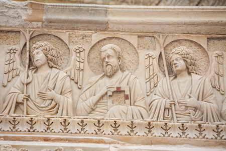 Art details on the Pisa Baptistery of St. John, Roman Catholic ecclesiastical building in Pisa, Italy. 写真素材