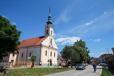 ZUPANJA,CROATIA - MAY 15, 2018 : A view of the Parish of Martyrdom of Saint John the Baptist church in Zupanja, Croatia.