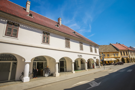 VUKOVAR, CROATIA - MAY 14, 2018 : Renovated buildings from destruction of the Yugoslav war in 90s in the center of the town of Vukovar, Croatia. Editorial