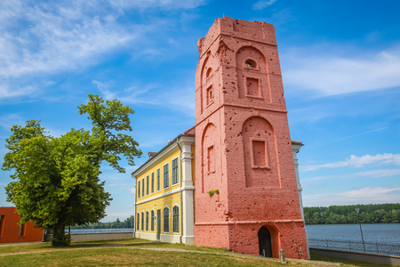 VUKOVAR, CROATIA - MAY 14, 2018 : Renovated tower that is part of the City museum on the coast of river Danube in Vukovar, Croatia.