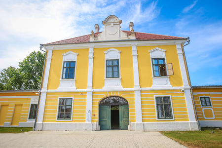 VUKOVAR, CROATIA - MAY 14, 2018 : View of the entrance to the City museum located in the Eltz castle in Vukovar, Croatia.