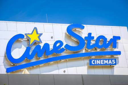 VUKOVAR, CROATIA - MAY 14, 2018 : Close up of Cinestar cinemas sign on the building in Vukovar, Croatia. Cinestar cinemas are biggest and widespread cinemas in Croatia. Editorial