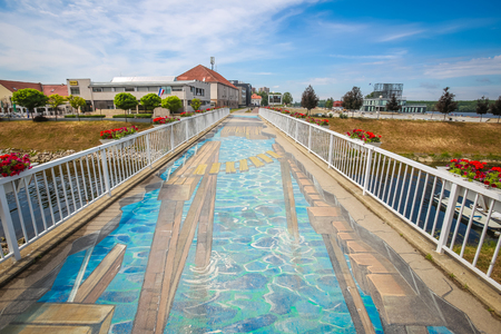 VUKOVAR, CROATIA - MAY 14, 2018 : A view of the 3D mural painted on the bridge over river Vuka in Vukovar, Slavonia, Croatia. Editorial