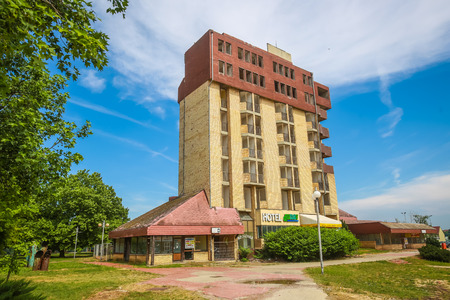 VUKOVAR, CROATIA - MAY 14, 2018 : A view of the abandoned Hotel Dunav in Vukovar, Croatia. Editorial