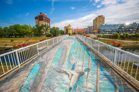 VUKOVAR, CROATIA - MAY 14, 2018 : A view of the 3D mural painted on the bridge over river Vuka in Vukovar, Slavonia, Croatia. Editorial
