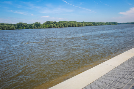 A new embankment on the shore of river Danube in Vukovar, Croatia. Danube is Europes second longest river. Stock Photo