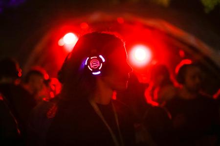 ZAGREB, CROATIA - 26th June, 2018 : Silent Party by YEM kolektiv DJs on the 13th INmusic festival located on the lake Jarun in Zagreb, Croatia.