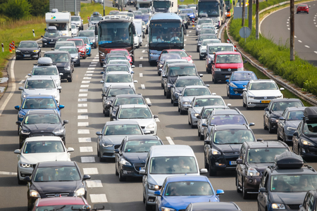 ZAGREB, CROATIA - August 11th, 2018 : Big traffic jam due to the large number of tourists going to the sea coast of Croatia in the Lucko highway toll in Zagreb, Croatia. 新聞圖片