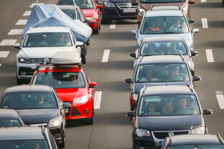 ZAGREB, CROATIA - August 11th, 2018 : Big traffic jam due to the large number of tourists going to the sea coast of Croatia in the Lucko highway toll in Zagreb, Croatia. Éditoriale