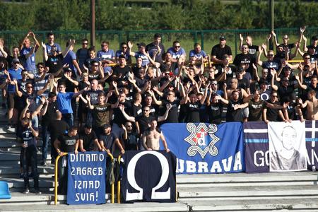 Velika Gorica, Croatia - 15th, September 2018 : First football Croatian league Hrvatski Telekom, game between Hnk Gorica and Dinamo on Gorica stadium. BBB fans of Dinamo football club. 報道画像