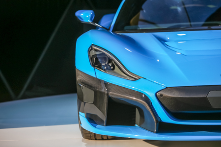 Zagreb, Croatia - 28 September, 2018 : Presentation of Rimac new electric hypercar C Two model on Strossmayer square. Detail of front lights and bumper.