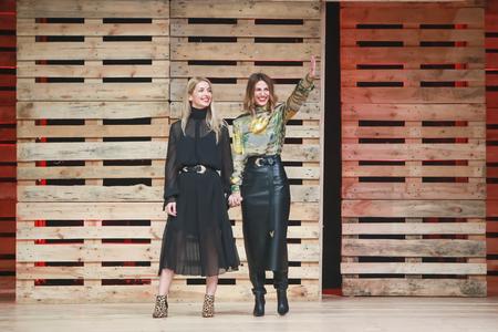 ZAGREB, CROATIA - OCTOBER 27, 2018 : Fashion designers for Mateyaneira fashion brand Mateja Dujic and Neira Sinanbasic on the Bipa Fashion.hr fashion show in Zagreb, Croatia.