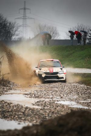 Sveta Nedjelja, Croatia - November 25, 2018. 9th Rally Show Santa Domenica. Janos Balogh and Daniel Holczer from Hungary racing in the Skoda Fabia R5.