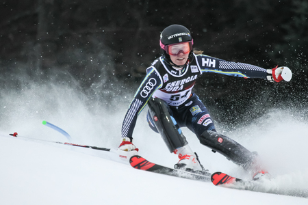 Zagreb, Croatia - January 5, 2019 : Sara Rask from Sweden competes during the Audi FIS Alpine Ski World Cup Women's Slalom, Snow Queen Trophy 2019 in Zagreb, Croatia.