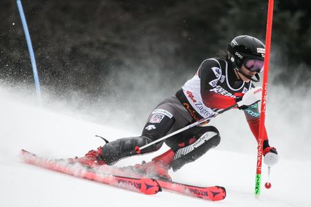 Zagreb, Croatia - January 5, 2019 : Asa Ando from Japan competes during the Audi FIS Alpine Ski World Cup Women's Slalom, Snow Queen Trophy 2019 in Zagreb, Croatia.