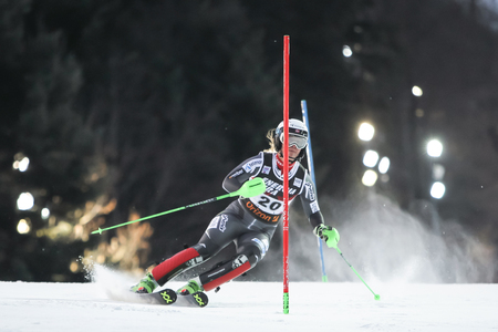 Zagreb, Croatia - January 5, 2019 : Mina Fuerst Holtmann from Norway competes during the Audi FIS Alpine Ski World Cup Womens Slalom, Snow Queen Trophy 2019 in Zagreb, Croatia.