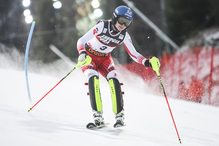 Zagreb, Croatia - January 5, 2019 : Bernadette Schild from Austria competes during the Audi FIS Alpine Ski World Cup Womens Slalom, Snow Queen Trophy 2019 in Zagreb, Croatia.