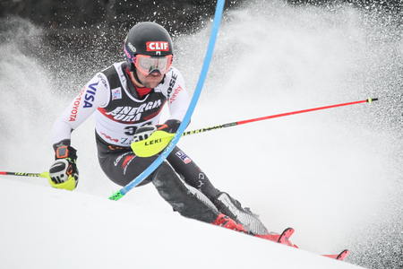 Zagreb, Croatia - January 6, 2019 : Mark Engel from Usa competes during the Audi FIS Alpine Ski World Cup Mens Slalom, Snow Queen Trophy 2019 in Zagreb, Croatia.