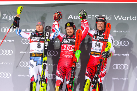 Zagreb, Croatia - January 6, 2019 : Award ceremony of the Audi FIS Alpine Ski World Cup Mens Slalom, Snow Queen Trophy 2019. 1st Marcel Hirscher, 2nd Alexis Pinturault, 3rd Manuel Feller