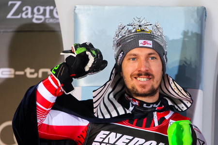 Zagreb, Croatia - January 6, 2019 : First placed Marcel Hirscher from Austria during award ceremony of the Audi FIS Alpine Ski World Cup Mens Slalom, Snow Queen Trophy 2019 in Zagreb, Croatia. Stock Photo - 118947440