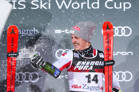Zagreb, Croatia - January 6, 2019 : Third placed Manuel Feller from Austria during award ceremony of the Audi FIS Alpine Ski World Cup Mens Slalom, Snow Queen Trophy 2019 in Zagreb, Croatia.
