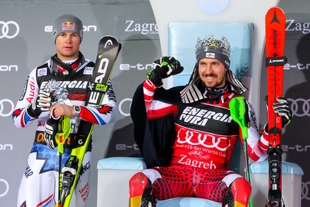 Zagreb, Croatia - January 6, 2019 : 1st Marcel Hirscher and 2nd Alexis Pinturault on the award ceremony of the Audi FIS Alpine Ski World Cup Mens Slalom, Snow Queen Trophy 2019. Stock Photo - 118947443