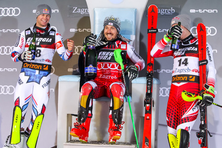 Zagreb, Croatia - January 6, 2019 : Award ceremony of the Audi FIS Alpine Ski World Cup Mens Slalom, Snow Queen Trophy 2019. 1st Marcel Hirscher, 2nd Alexis Pinturault, 3rd Manuel Feller Stock Photo - 118947447