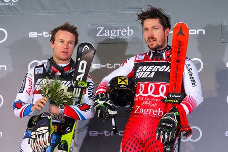 Zagreb, Croatia - January 6, 2019 : 1st Marcel Hirscher and 2nd Alexis Pinturault on the award ceremony of the Audi FIS Alpine Ski World Cup Mens Slalom, Snow Queen Trophy 2019.