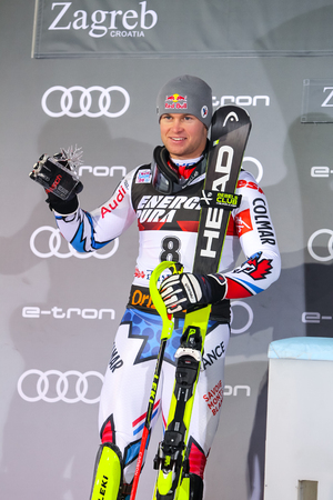 Zagreb, Croatia - January 6, 2019 : Second placed Alexis Pinturault from France during award ceremony of the Audi FIS Alpine Ski World Cup Mens Slalom, Snow Queen Trophy 2019 in Zagreb, Croatia.