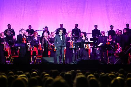 Zagreb,Croatia -December 21,2018 : Opera trio,consisting of baritone Gianluca Ginoble and two tenors Piero Barone and Ignazio Boschetto Il Volo with conductor Marcello Rota performing in Arena Zagreb.