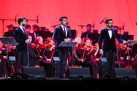 Zagreb, Croatia - December 21, 2018 : Opera trio, consisting of baritone Gianluca Ginoble (23) and two tenors Piero Barone (25) and Ignazio Boschetto (23 )Il Volo performing in Arena Zagreb in Zagreb.