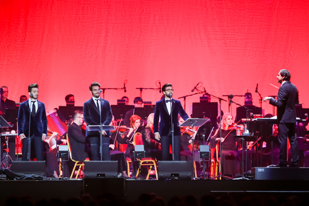 Zagreb, Croatia - December 21, 2018 : Opera trio, consisting of baritone Gianluca Ginoble (23) and two tenors Piero Barone (25) and Ignazio Boschetto (23 )Il Volo performing in Arena Zagreb in Zagreb.