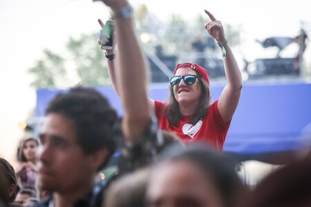Zagreb, Croatia - 26th June, 2019 :  Audience during concert of Laura Pergolizzi known as LP on the 14th INmusic festival located on the lake Jarun in Zagreb, Croatia.