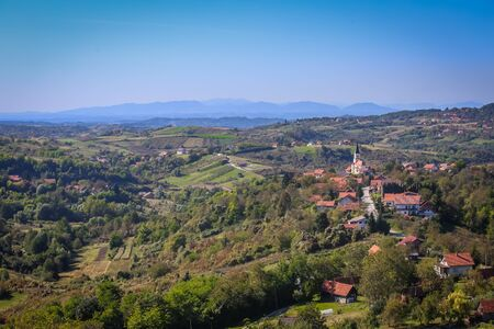 Landscape of village with church called St Matej in Zagorje Mountains in Croatia.