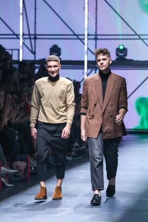 Zagreb, Croatia - October 24, 2019 : A fashion designers Les Emaux walking on the catwalk at the Bipa Fashion.hr fashion show in Zagreb, Croatia.