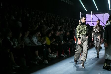 Zagreb, Croatia - October 24, 2019 : A model wearing Les Emaux fashion collection on the catwalk at the Bipa Fashion.hr fashion show in Zagreb, Croatia. Éditoriale