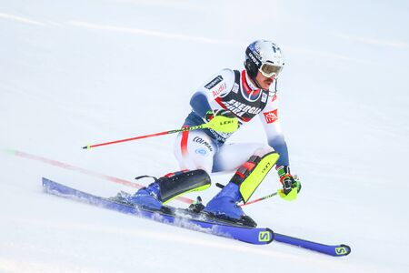 Zagreb, Croatia - January 5, 2020 : Robin Buffet from France competing during the Audi FIS Alpine Ski World Cup 20192020, 3rd Mens Slalom, Snow Queen Trophy 2020 in Zagreb, Croatia.