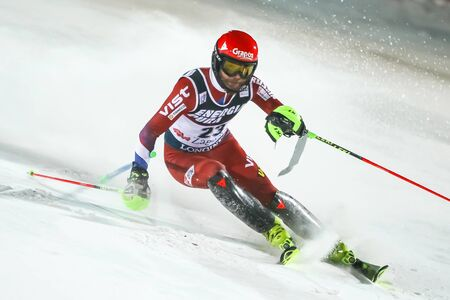 Zagreb, Croatia - January 5, 2020 : Aleksander Khoroshilov from Russia competing on the 2nd run during the Audi FIS Alpine Ski World Cup 20192020, 3rd Mens Slalom, Snow Queen Trophy 2020 in Zagreb, Croatia.