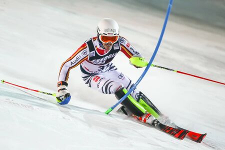 Zagreb, Croatia - January 5, 2020 : Linus Strasser from Germany competing on the 2nd run during the Audi FIS Alpine Ski World Cup 20192020, 3rd Mens Slalom, Snow Queen Trophy 2020 in Zagreb, Croatia.