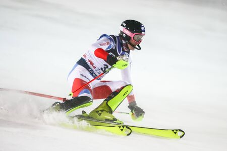 Zagreb, Croatia - January 5, 2020 : Tanguy Nef from Switzerland competing on the 2nd run during the Audi FIS Alpine Ski World Cup 20192020, 3rd Mens Slalom, Snow Queen Trophy 2020 in Zagreb, Croatia. 新聞圖片