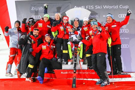 Zagreb, Croatia - January 5, 2020 : 2nd placed Ramon Zenhausern from Switzerland with his team during award ceremony of the Audi FIS Alpine Ski World Cup Mens Slalom, Snow Queen Trophy 2020.