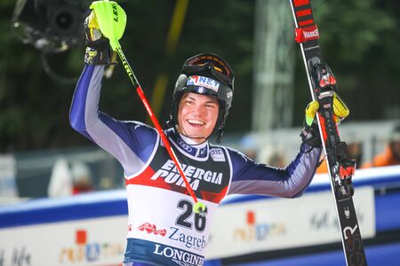 Zagreb, Croatia - January 5, 2020 : 3rd placed Alex Vinatzer from Italy during award ceremony of the Audi FIS Alpine Ski World Cup Mens Slalom, Snow Queen Trophy 2020.