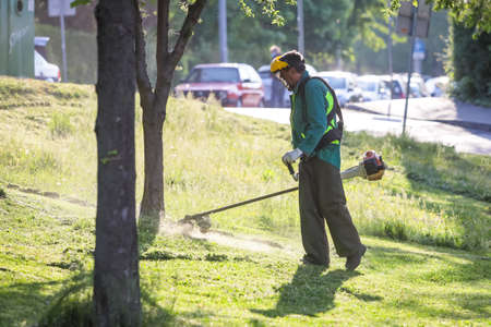 Zagreb, Croatia - April 22, 2020 : Utility workers mow the city park with trimmers and lawn mowers in Zagreb, Croatia.