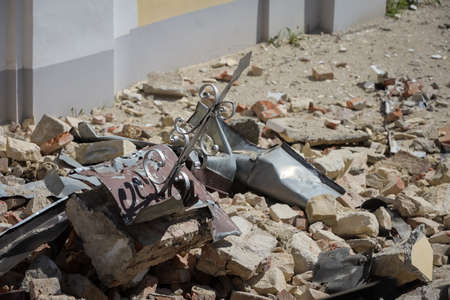 Zagreb, Croatia - 12 April, 2020 : Scattered parts of the church of the Visitation of the Blessed Virgin Mary destroyed after strong earthquake that happened on 22nd March, 2020 in Cucurje, Zagreb.